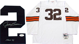 "Jim Brown HOF 71"" Autographed / Signed Mitchell & Ness Authentic Cleveland Browns White Jersey (James Spence)"""