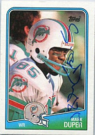 Mark Duper Autographed/Signed 1988 Topps Card