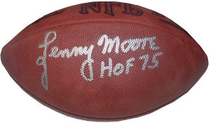Lenny Moore signed Official NFL Tagliabue Football HOF 75