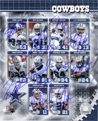 Dallas Cowboys (2006) Signed 8x10 By the 2006 Dallas Cowboys: Terry Glenn, Roy Williams, Terence Newman, Mike Vanderjagt, Jason Witten, Terrell Owens, Demarcus Ware, Marion Barber, Drew Bledsoe and Julius Jones (10 Signatures in all)