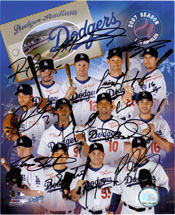 Los Angeles Dodgers (2007) Signed 8x10 Photo by the 2007 Los Angeles Dodgers (Rafael Furcal, Jeff Kent, Nomar Garciapara, Andre Ethier, Wilson Betemit, Louis Gonzalas, Derek Lowe, Juan Peirce, Russell Martin, Jason Schmidt, Brad Penny and Takashi Saito) 1