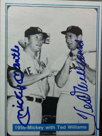 Mickey / Williams, Ted Mantle Signed 1982 The Mickey Mantle Story Baseball Card (# 25)