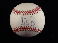 Nolan Ryan Signed American League Baseball in Blue Ink on the Sweet Spot