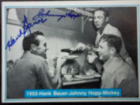 New York 1952 Yankees (Bauer, Hank / Hopp, Johnny) Signed 1982 The Mickey Mantle Story Baseball Card (# 12)