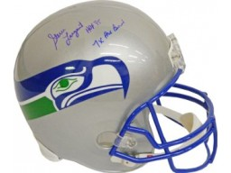 Steve Largent signed Seattle Seahawks Full Size TB Replica Helmet HOF 95 & 7 X Pro Bowl