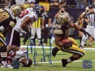Mark Ingram signed New Orleans Saints 8x10 Photo vs Texans #28 (Black jersey horizontal)- Ingram Hologram