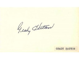 Grady Hatton Autographed / Signed 3x5 Card