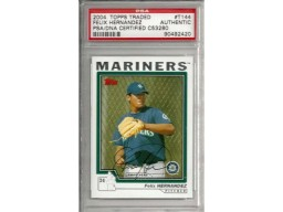 Felix Hernandez Autographed 2004 Topps Traded Rookie Card #T144 Seattle Mariners PSA/DNA Stock #6217