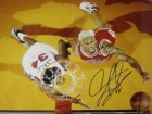 Dennis Rodman signed Chicago Bulls 16x20 Photo (Red Jersey above rim view)
