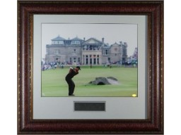 Tiger Woods 11x14 Golf Photo 2005 British Open Swilcan Bridge Custom Premium Leather Framing