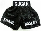 Sugar Shane Mosley signed Black Satin Boxing Trunks