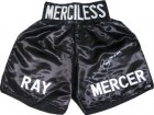 Ray Mercer signed Black Satin Boxing Trunks w/ Merciless (1988 Seoul Olympic Gold)