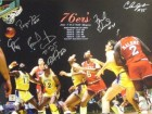 Bobby Jones signed Philadelphia 76ers 16x20 Photo 1983 NBA Champions w/ 6 Signatures vs Lakers