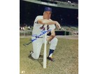 Duke Snider Autographed/Signed 8x10 Photo- Kneeling With Bat