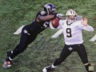 Terrell Suggs signed Baltimore Ravens 16x20 Photo sacking Drew Brees