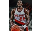 Clyde Drexler signed Portland Trail Blazers 16x20 Photo HOF 04 (foul shot spotlight)