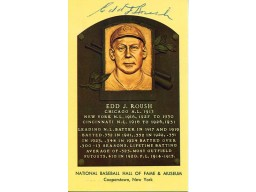 Edd Roush Autographed / Signed Baseball Hall of Fame Plaque Postcard