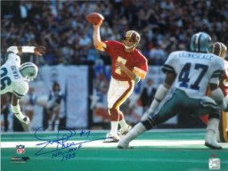 Joe Theismann signed Washington Redskins 16x20 Photo vs Dallas NFL MVP 1983