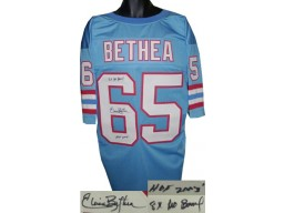 Elvin Bethea signed Blue TB Custom Stitched Pro Style Football Jersey dual 8X Pro Bowl & HOF 2003 XL