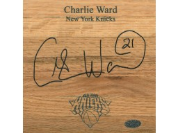 Charlie Ward signed New York Knicks Floor Board 6x6