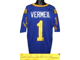 Dick Vermeil signed Blue TB Custom Stitched Pro Style Football Jersey w/ dual Coach & Super Bowl XXXIV Champions XL