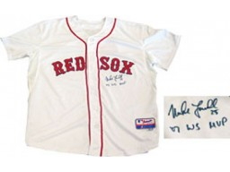 Mike Lowell 07 WS MVP Autographed / Signed Boston Red Sox White Practice Jersey