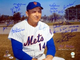 1969 World Series Champion New York Mets Autographed 16x20 Photo With 25 Signatures Including Nolan Ryan & Tom Seaver PSA/DNA Stock #14458