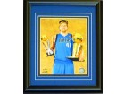 Dirk Nowitzki Unsigned Framed Holding MVP & Finals Trophy 8x10 Photo