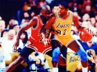Magic Johnson Autographed 16x20 Photo Los Angeles Lakers VS. Jordan PSA/DNA Stock #30873