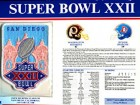 Super Bowl 22 Patch and Game Details Card