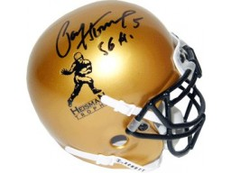 Paul Hornung signed Heisman Gold Schutt Authentic Mini Helmet 56 H (Notre Dame)