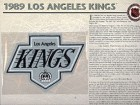 NHL 1989 Los Angeles Kings Official Patch on Team History Card