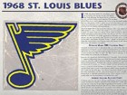 NHL 1968 St. Louis Blues Official Patch on Team History Card