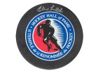 Elmer Lach Hockey Puck Autographed / Signed Hall of Fame