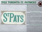 NHL 1922 Toronto St. Patricks Official Patch on Team History Card