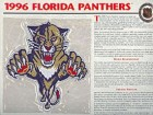 1996 Florida Panthers Official Patch on Team History Card