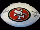 San Francisco 49ers (Joe Montana / Jerry Rice) Signed San Francisco 49ers White Panel Logo Football By Jerry Rice and Joe Montana