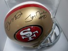 San Francisco 49ers (Joe Montana / Jerry Rice) Signed Riddell Replica Full Size San Francisco 49ers HElmet By Joe Montana and Jerry Rice