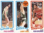 Fred Brown / Larry Bird / Ron Brewer Unsigned 1980 Topps Basketball Card