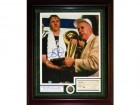Larry Bird Autographed / Signed Framed 16x20 Photo w/ Red Auerbach Autographed / Signed Check