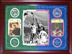 Bill Russell & Wilt Chamberlain Autographed / Signed Framed 4x6 Sports Caster Cards