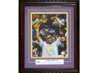 Kobe Bryant Holding Two Trophies Los Angeles Lakers Basketball Framed 8x10 Photo