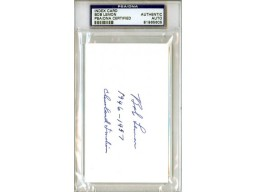 Bob Lemon Autographed 3x5 Index Card PSA/DNA #81965605