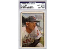 Al Lopez Autographed 1953 Bowman Color Card #143 Cleveland Indians PSA/DNA #83313507
