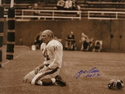 YA Tittle signed New York Giants Blood 16x20 (Sepia- horizontal) Photo HOF71