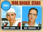 Johnny Bench & Ron Tompkins Unsigned 1968 Topps Baseball Card