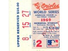 1969 World Series Game 2 Upper Reserved Ticket Stub Section 8 Row 15 Seat 27