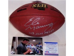 Eli Manning Autographed Hand Signed Super Bowl 42 XLII Official NFL Leather Football - PSA/DNA