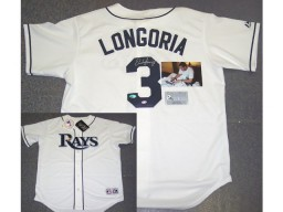 Evan Longoria Hand Signed Rays Authentic White Jersey - PSA/DNA