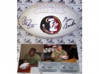 Bobby Bowden and Derrick Brooks Hand Signed Florida State Seminoles Logo Football - PSA/DNA